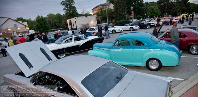 Classic cars parked at the Roselle Illinois cruise night.