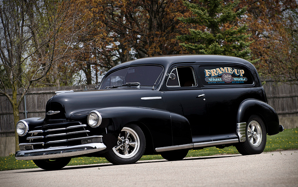 What better way to haul some goods than in a classic Chevy sedan delivery.