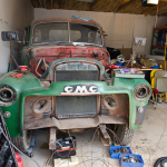 This 1-ton truck is being restored to its former glory.
