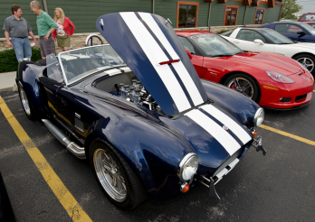 Rain didn't stop cars like this Shelby Cobra from coming to the cruise.