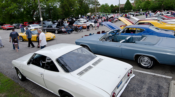 Cars parked in downtown Palatine at the classic car cruise.
