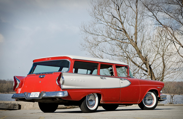1958 Edsel Wagon looks great with the boomerang taillights.