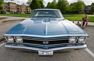 This Grotto Blue 1968 Chevelle looks great parked in downtown Palatine.