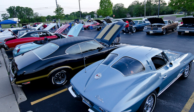 Classic cars lined up at the Elk Grove Illinois Swee Baby Ray's BBQ cruise night.