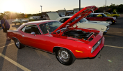 Classic cars parked at the Lake Zurich, Illinois cruise night.