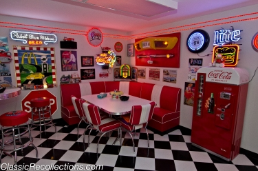 A corner booth adds to the 1950s feeling in Rick Burke's custom basement.