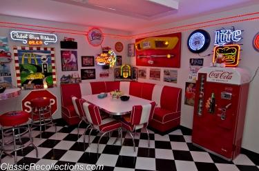 A corner booth adds to the 1950s feeling in Rick Burke's custom basement.