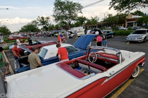 Classic cars parked in downtown Mount Prospect Illinois for the 2012 Bluesmobile Cruise night.