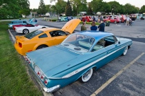 Classic cars parked at the 2012 Rolling Meadows cruise night.