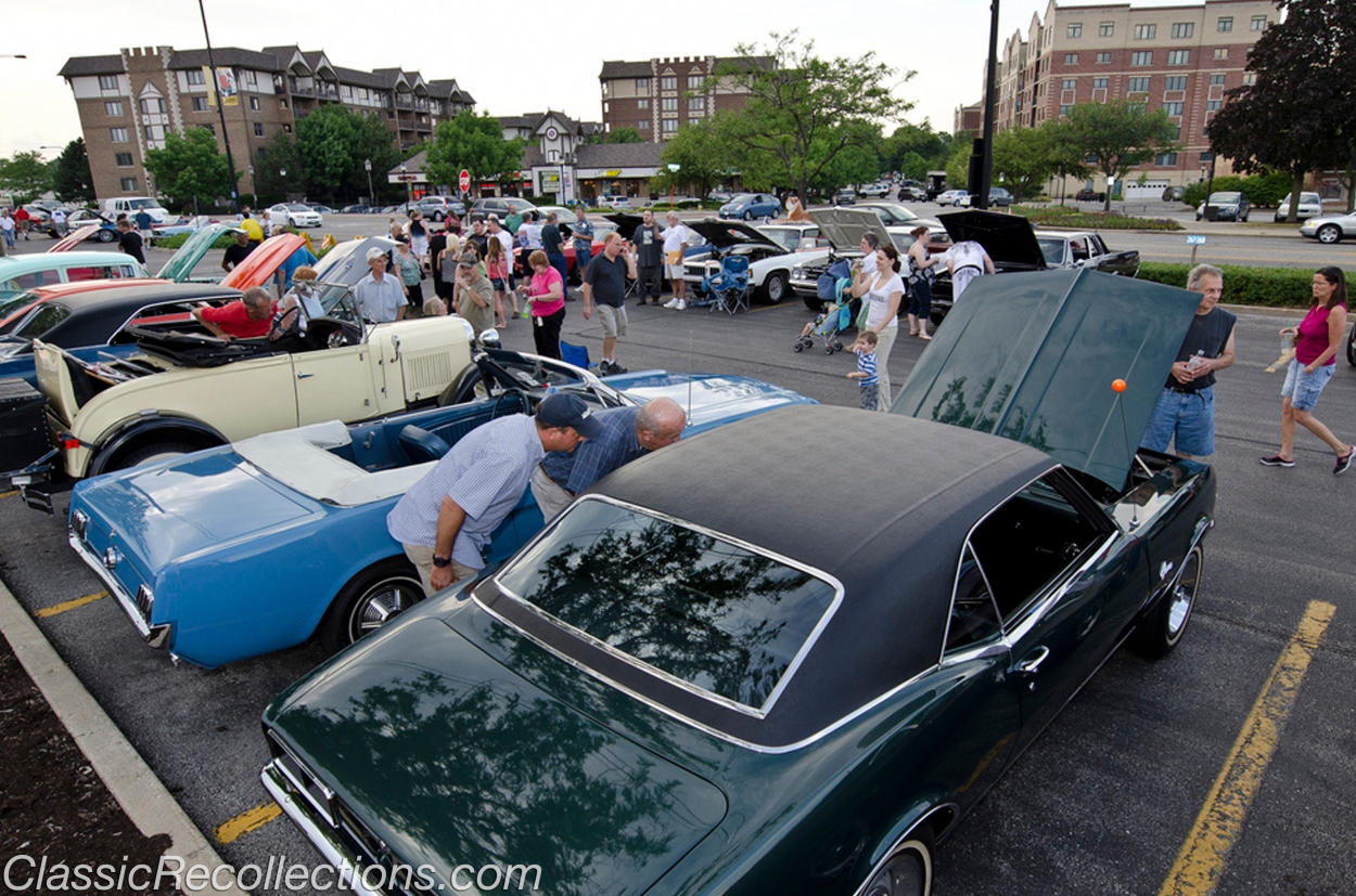 Classic cars parked in downtown Mount Prospect, Illinois for the Bluesmobile Cruise night.