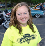Shelly Cline organizes the classic car cruise in Rolling Meadows, Illinois.