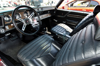 The cabin of this 1970 Oldsmobile Cutlass W-31 is a combination of luxury and performance.