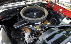 Under the hood of this 1970 Oldsmobile Cutlass W-31 is a high performance 350ci V8.