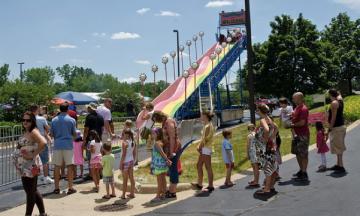 Giant slides kept the kids occupied at Dadfest 2012.