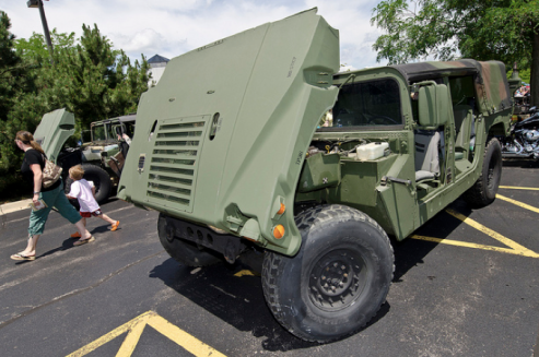 Military vehicles were displayed at Willow Creek church's Dadfest 2012.