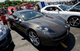 A Fisker Karma could be viewed up close.