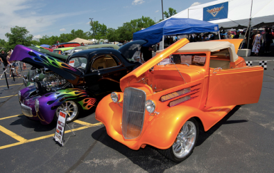 Classic cars on display at Willow Creek church's Dadfest 2012.