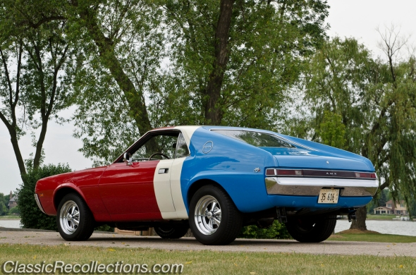 This 1969 AMC AMX was restored in Super Stock colors.