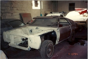 The 1969 AMC AMX during the restoration.