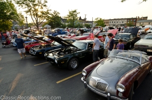 Classic cars parked in downtown Barrington, Illinois for the classic car cruise. 2012