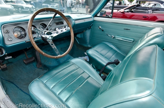 The interior on this original 1965 Chevrolet El Camino is Marina Blue.
