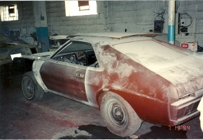 Here's how this 1969 AMC AMX started off in the restoration.