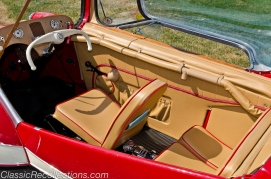 The interior of this 1955 Messerschmitt KR200 Kabinenroller has been fully restored.
