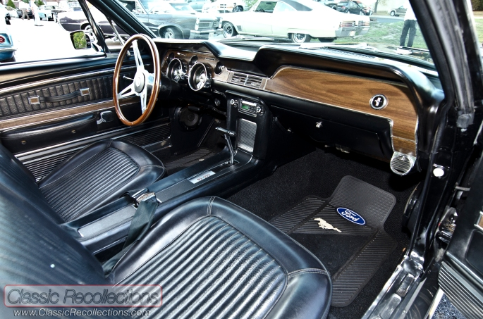 The interior looks stock on this 1968 Ford Mustang GT.