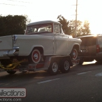 This fully restored 1956 Chevrolet Cameo pickup looked great on the highway.