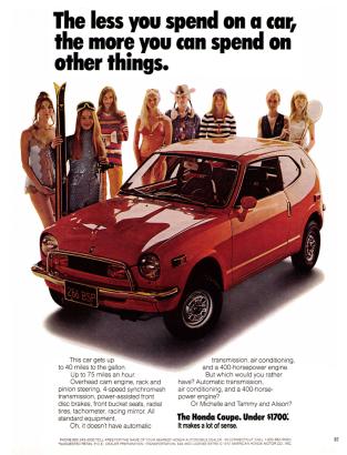 1972 Honda Z600 sport coupe advertisement.