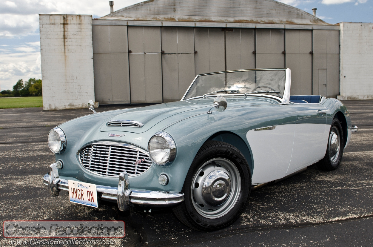 This fully restored 1959 Austin Healey Model 100-6 was found hidden away in a rural airplane hangar.