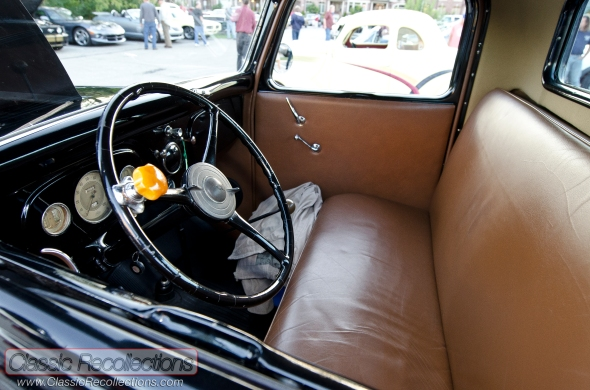This restored 1936 Ford Model 68 pickup has a V8 flathead underhood.