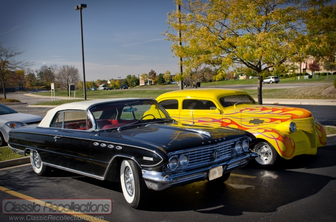 This pair of classic cars was found out cruising in the Chicago fall season.