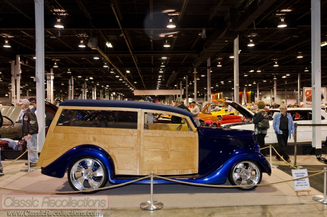 This 1935 Ford Woodie wagon custom utitlizes original sheet metal and wood.