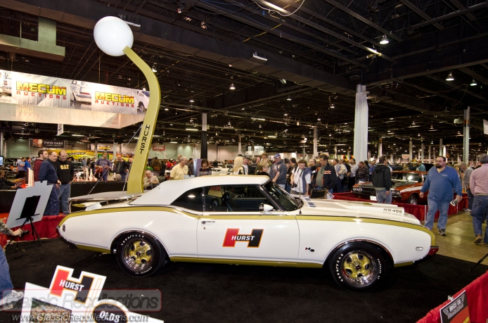 The 1969 Hurst Olds, along with Miss Hurst Golden Shifter, Linda Vaughn were at the 2012 Muscle Car and Corvette Nationals.
