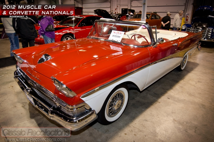 This red 1958 Ford Fairlane 500 Sunliner was displayed at the 2012 Muscle Car and Corvette Nationals.