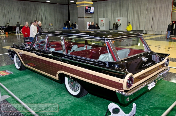 This 1961 Ford Country Squire station wagon is parked in the lobby of the 2012 Muscle Car and Corvette Nationals.
