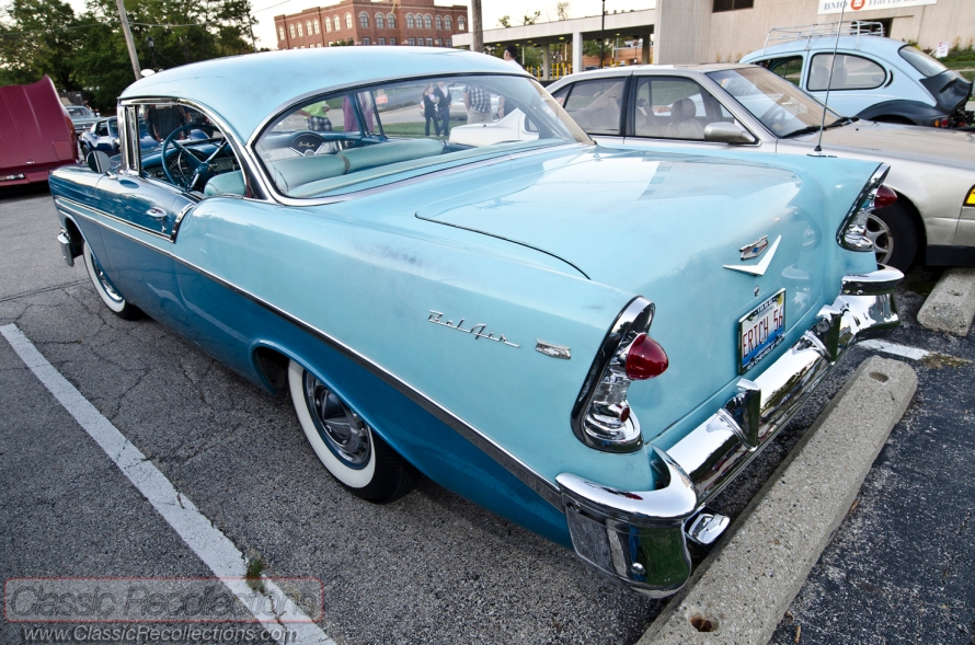 This 1956 Chevrolet Bel Air two door sedan was parked at the downtown Palatine, Illinois cruise night.