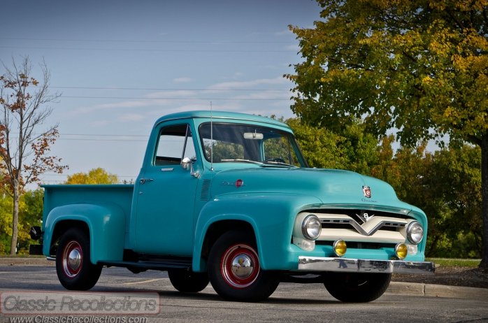 This 1955 Ford F100 is painted in Mountain Green paint.