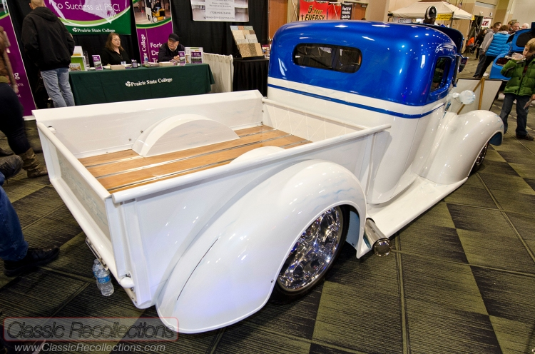 This 1938 Chevrolet pickup has been customized and was shown at the 2013 Custom Rides Car Show and Expo, Tinley Park IL