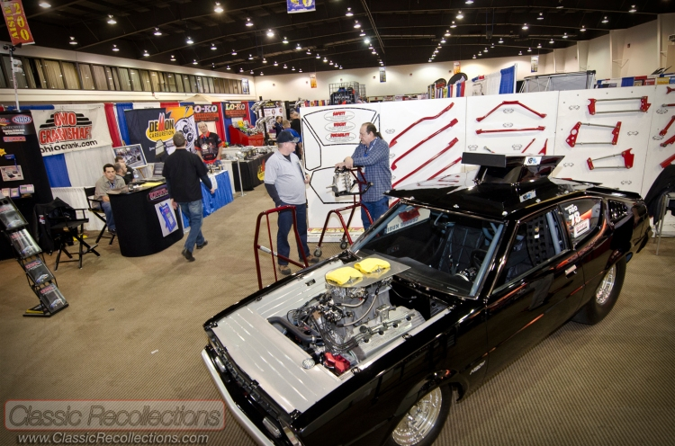 Show cars on display at the 2013 Race and Performance Expo held at the Pheasant Run Convention Center in St. Charles, Illinois.