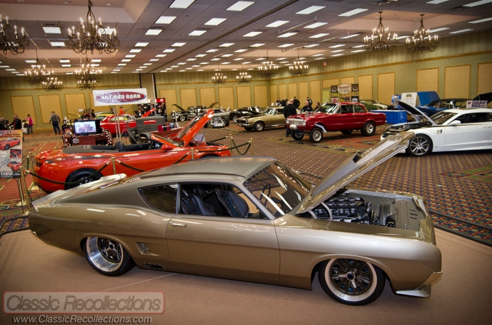 Show cars on display at the 2013 Race and Performance Expo held at the Pheasant Run Resort in St. Charles, Illinois.