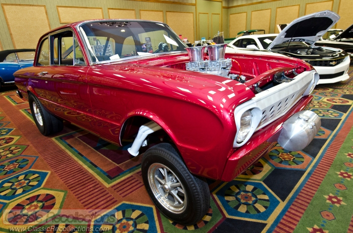 Custom muscle and race cars at the 2013 Race and Performance Expo in St. Charles, Illinois.