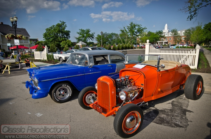 Classic cars displayed at the downtown Barrington, Illinois 2013 cruise night.