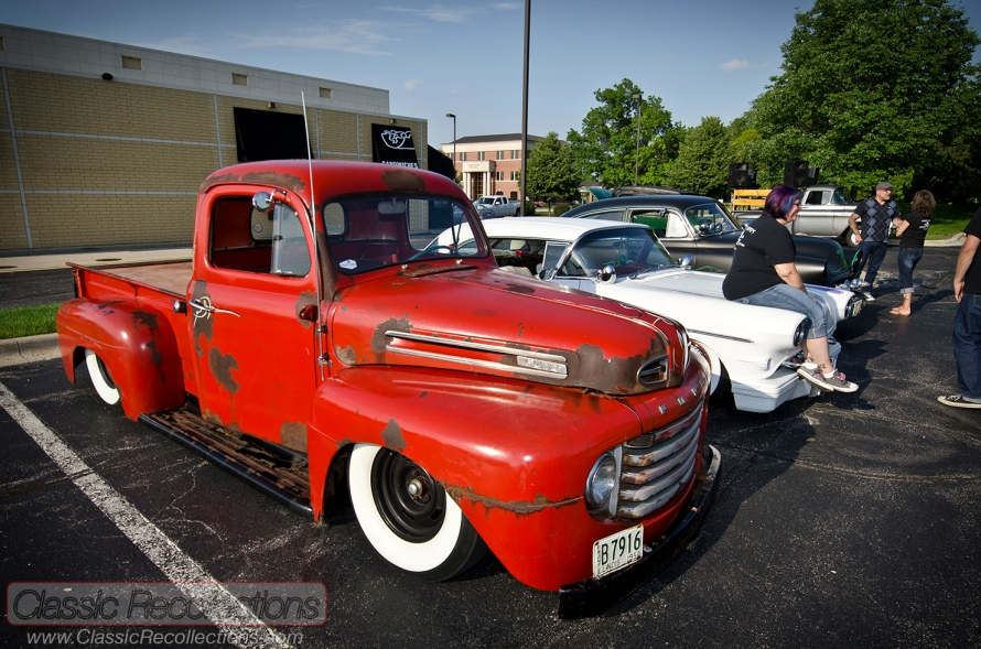 This custom Ford F1 is a member of the Voodoo Kings of Illinois. It was parked at the 2013 Itasca, Il cruise night.