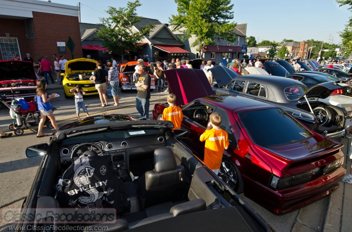 Classic, antique and muscle cars parked at the downtown Cary, Illinois cruise night.