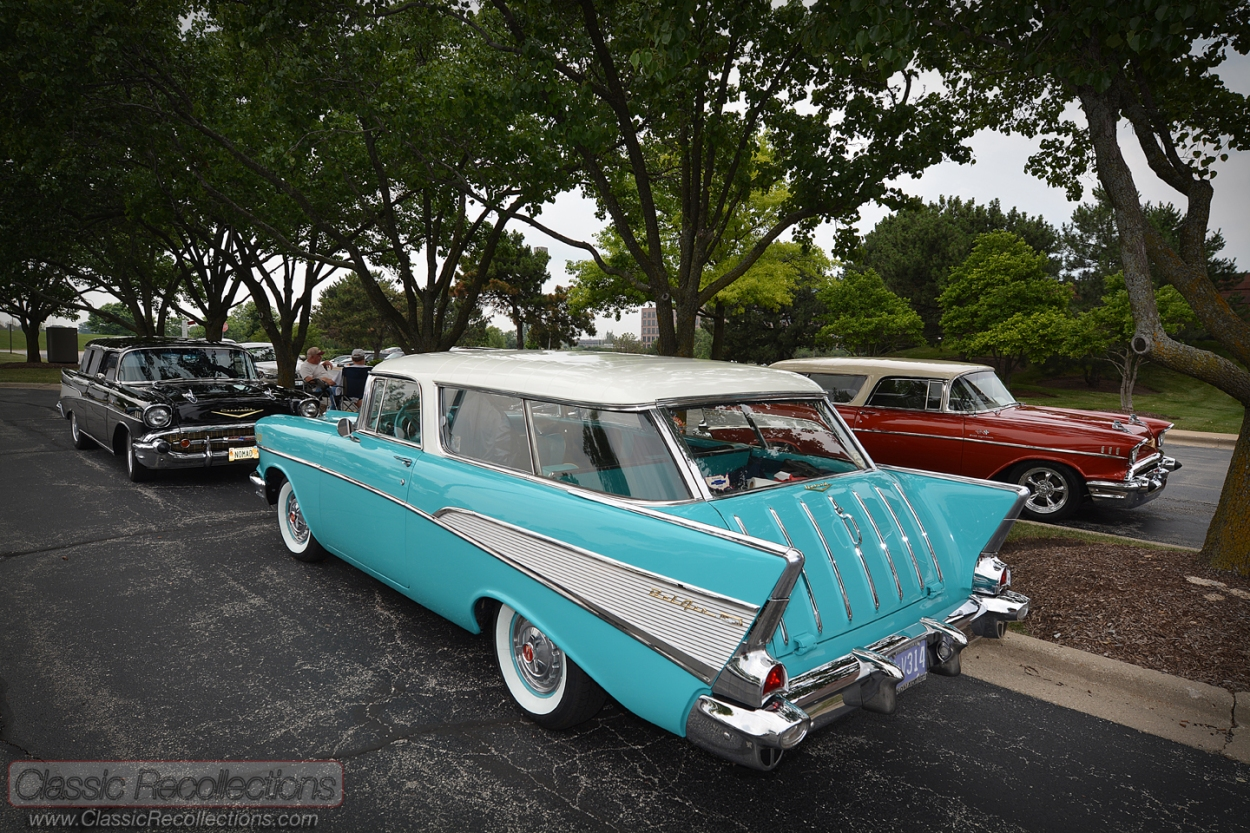 Classic Chevrolet Nomad wagons on display in Itasca, IL at the 25th Annual Convention of the Chevrolet Nomad Association.