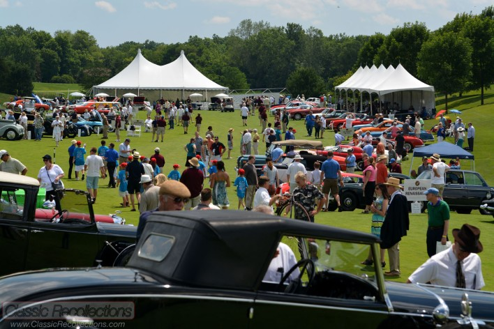 Classic and collector cars parked at the 2013 Barrington Concours D'Elegance in Barrington, IL.