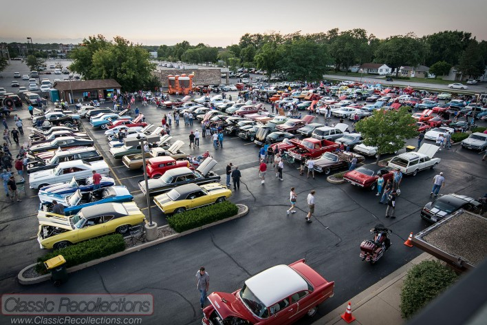 Classic, collector and muscle cars parked at the 2013 Rolling Meadows cruise night in Rolling Meadows, Illinois.