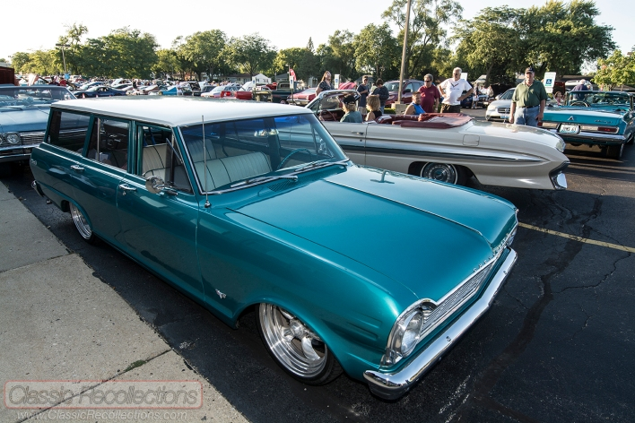 This custom 1965 Chevrolet Chevy II Nova station wagon was parked at the Rolling Meadows, Illinois cruise night.